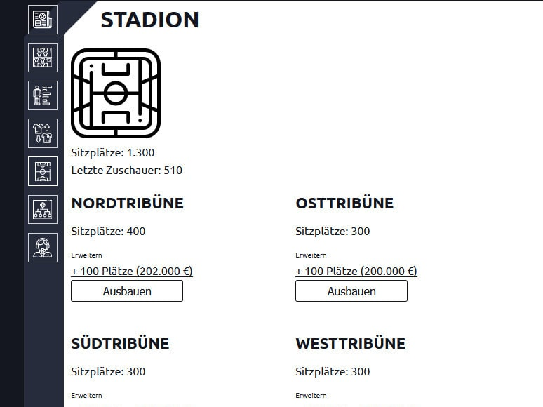 Anpfiff Onlinespiel Stadion ausbauen