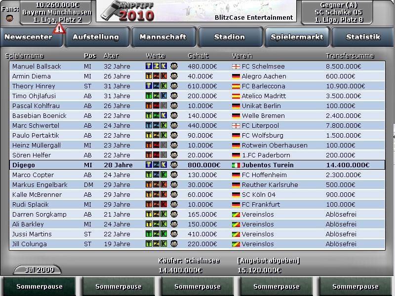 Anpfiff 10 Spielermarkt